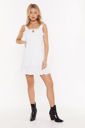 Womens White Tie Front Cotton Linen Shift Dress