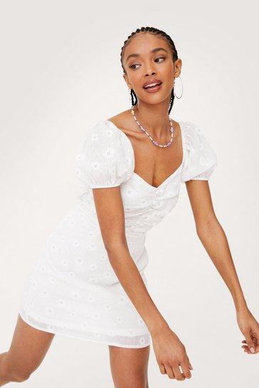 White Daisy Little Thing Puff Sleeve Mini Dress