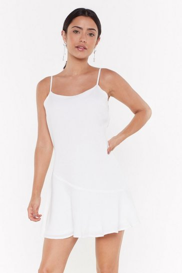 Womens White So Vain Linen Mini Dress