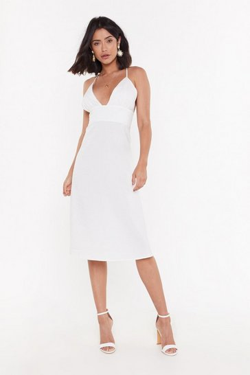 Womens White Deep an Open Mind Plunging Linen Dress