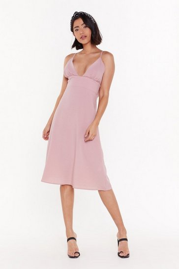 Womens Blush Deep an Open Mind Plunging Linen Dress