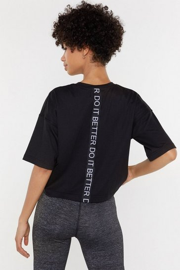 Womens Black Do It Better Sports Cropped Tee
