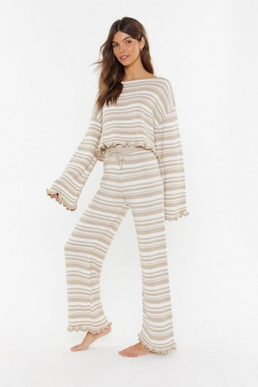 Womens Oatmeal Jump Into Bed Striped Sweater and Joggers Lounge Set