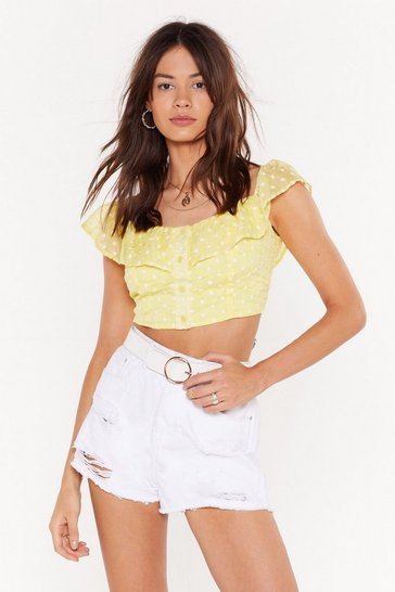 Womens Lemon Daisy For You Button-Down Crop Top