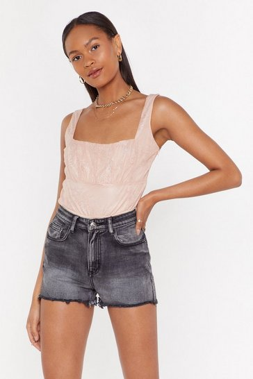 Womens Pink Can't Help But Square Neck Lace Bodysuit