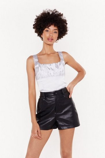 Silver Satin Ruched Bust Bodice Top