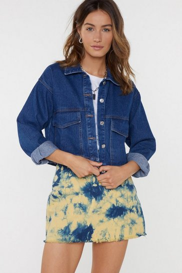 Womens Blue Denim in My Lane Cropped Jacket