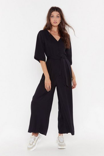 Womens Black Belted Wide Leg Jumpsuit