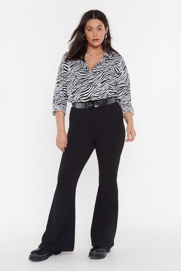 Womens Black MS High Waist Crepe Flares