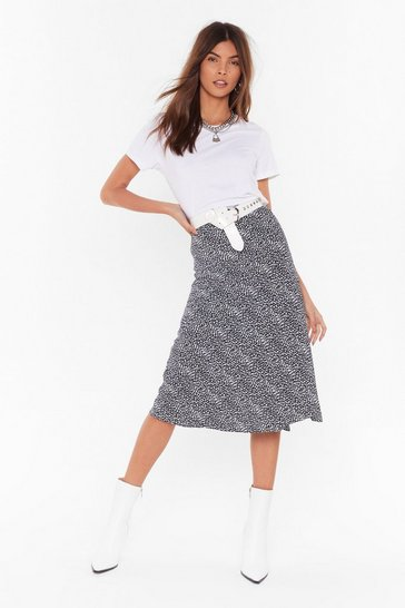 Black High Waisted Satin Midi Skirt with Spotty Print