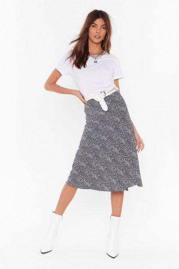 Black Feelin' Dot Bias Cut Midi Skirt