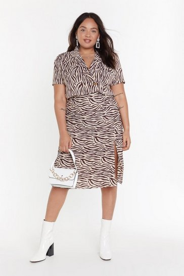 Womens MS Beige Zebra Midi Skirt