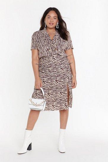 MS Beige Zebra Midi Skirt