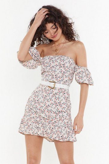 Womens Beige Got to Grow Floral Off-the-Shoulder Dress