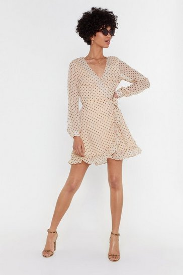 Womens Cream Plus One Me Polka Dot Wrap Dress