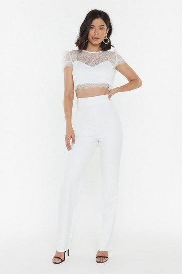 Womens White Aisle Be There For You Tailored Brial Trousers