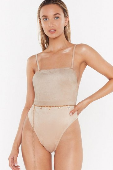 Stone Sunny Side Up Faux Suede Square Neck Swimsuit
