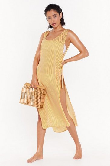 Womens Yellow Practice What You Beach Striped Cover-Up Dress
