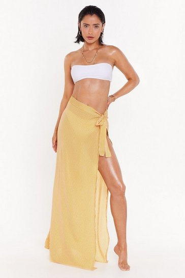 Yellow Practice What You Beach Striped Cover-Up Skirt