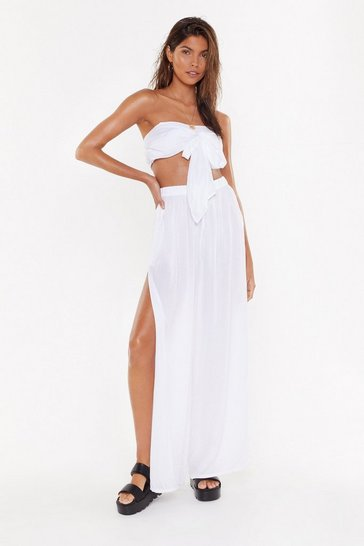 Womens Cream Time to Split Bandeau Top and Pants Cover-Up Set
