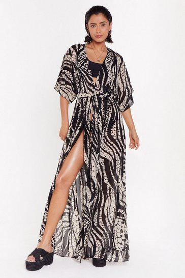 Womens Stone Welcome to the Wild Side Animal Cover-Up Kimono