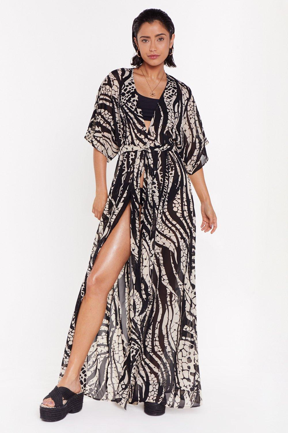 Welcome To The Wild Side Animal Cover Up Kimono by Nasty Gal
