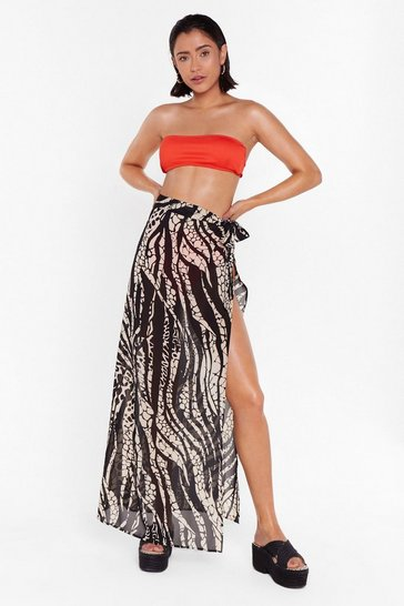 Womens Stone Welcome to the Wild Side Animal Cover-Up Maxi Skirt