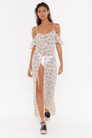 Cream Chiffon Floral Cover-Up Maxi Dress