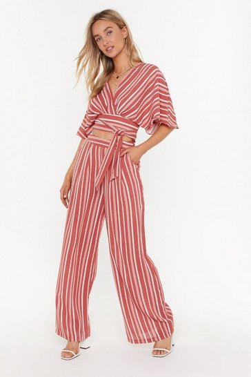 Womens Rose I Walk the Line Striped Wide-Leg Pants