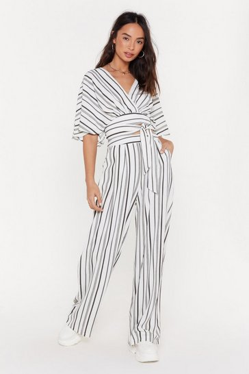 Womens White I Walk the Line Striped Wide-Leg Pants