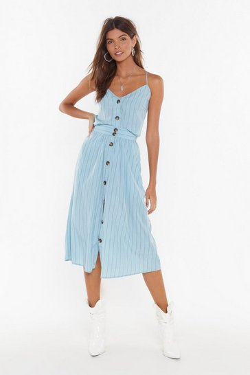 Teal Get Your Priorities Straight Striped Midi Skirt