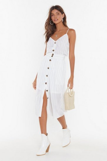 White Get Your Priorities Straight Striped Midi Skirt