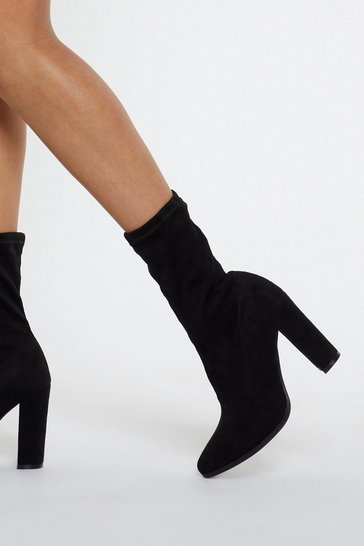 Black Fitted Faux Suede Sock Boots