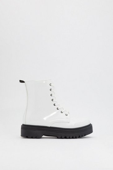 Womens White Stay Uplifted Patent Platform Boots