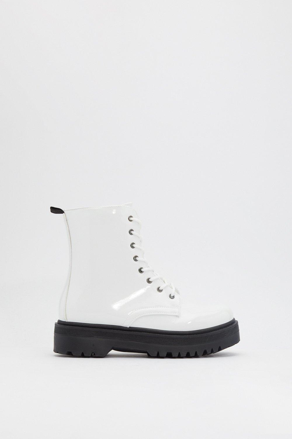 Stay Uplifted Patent Platform Boots by Nasty Gal