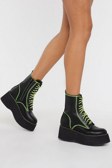 Womens Black Good Form Platform Neon Boots