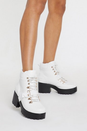 Womens White PU Matte Buckle Hiker Boot