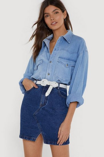 Womens Blue It's Been a Mini Denim Skirt