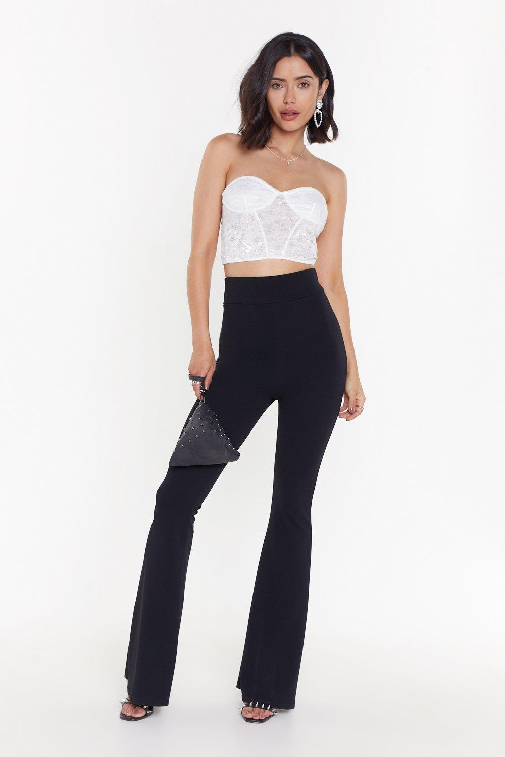 Ms High Waist Crepe Flares by Nasty Gal
