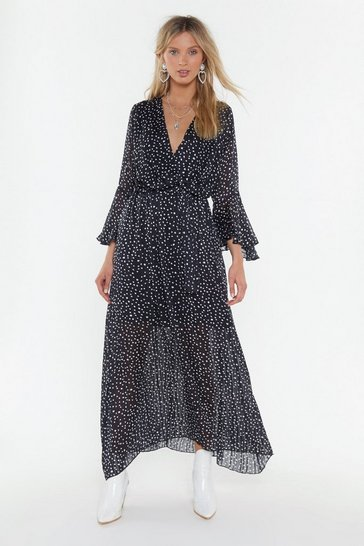 Womens Black Dot Your Number Spotty Maxi Dress