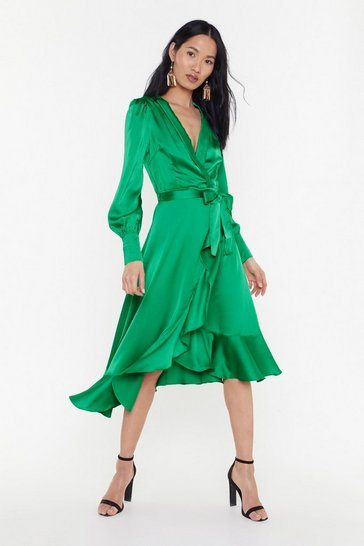 Robe midi portefeuille en satin à volants Destination douceur, Emerald