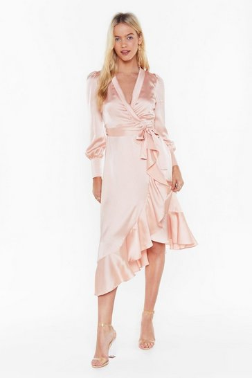 Womens Pink Dressed to Frill Ruffle Wrap Dress
