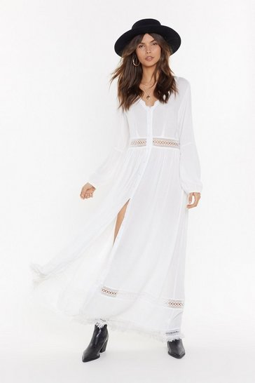 Womens White With My Hole Heart Ladder Maxi Dress