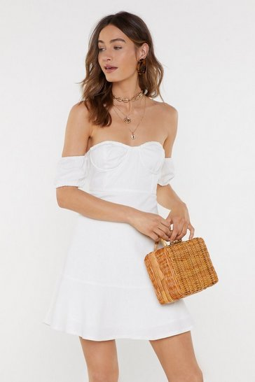 Womens White A Place in the Sun Off-the-Shoulder Mini Dress