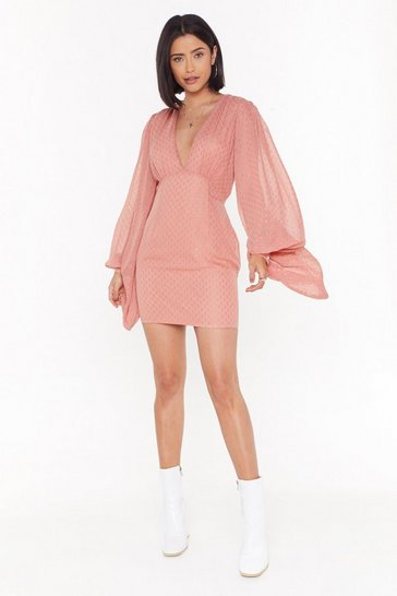 Womens Pink Can't V Tamed Balloon Sleeve Mini Dress