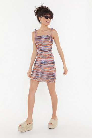 Womens Orange If the Dress Knits Multicolored Mini Dress