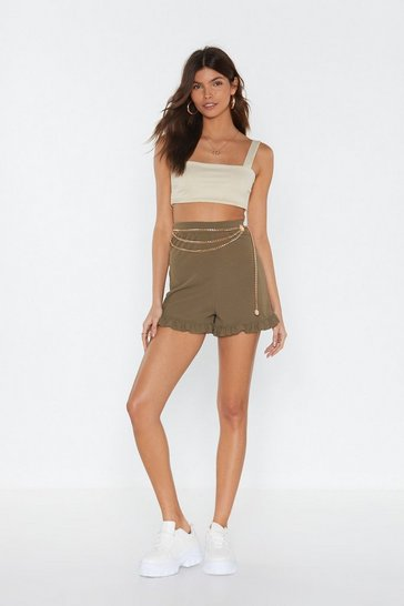 Womens Khaki MS Ruffle Hem Shorts