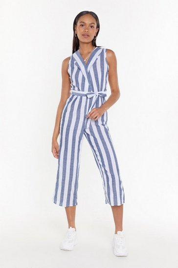 Womens Grey All the Stripe Moves Cropped Jumpsuit