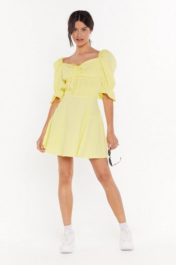 Womens Yellow Sweet Lovin' Puff Sleeve Mini Dress