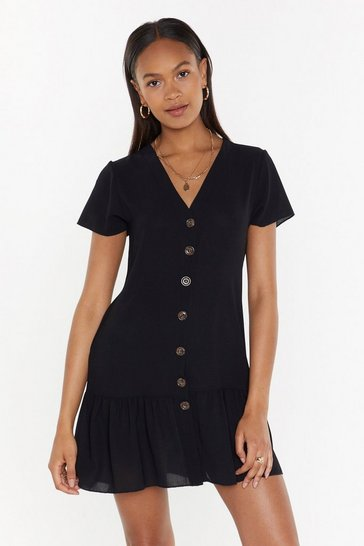 Womens Black Button-Down Tonight Mini Dress